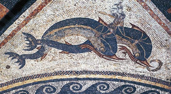 "Two dolphins. Mosaic (2nd BCE) from the ""House of Dolphins""."
